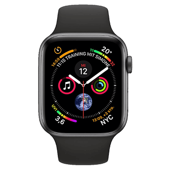 APPLE Watch Series 4 (GPS) 44 mm - Smartwatch (140-210 mm, Kunststoff, Schwarz/dunkelgrau)